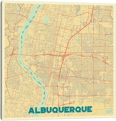 Albuquerque Retro Urban Blueprint Map Canvas Art Print