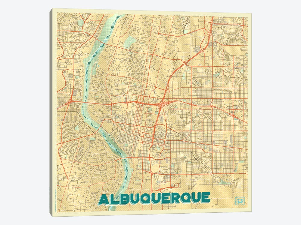 Albuquerque Retro Urban Blueprint Map by Hubert Roguski 1-piece Art Print
