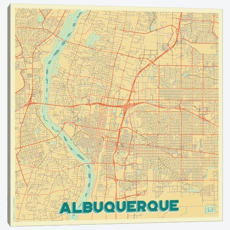 Albuquerque Retro Urban Blueprint Map Canvas Print #HUR6} by Hubert Roguski Art Print