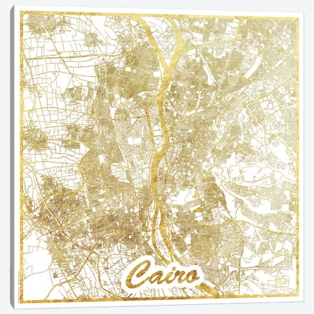 Cairo Gold Leaf Urban Blueprint Map 3-Piece Canvas #HUR70} by Hubert Roguski Canvas Art