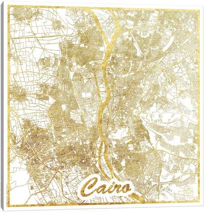 Cairo Gold Leaf Urban Blueprint Map Canvas Art Print