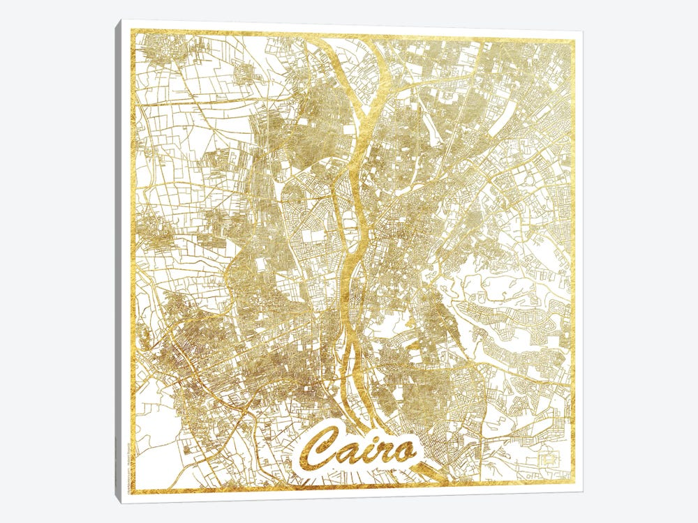 Cairo Gold Leaf Urban Blueprint Map by Hubert Roguski 1-piece Canvas Art Print