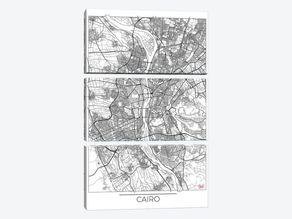 Cairo Minimal Urban Blueprint Map by Hubert Roguski 3-piece Canvas Art