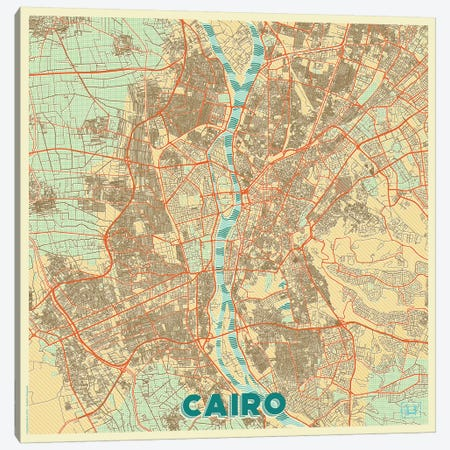 Cairo Retro Urban Blueprint Map 3-Piece Canvas #HUR73} by Hubert Roguski Canvas Wall Art