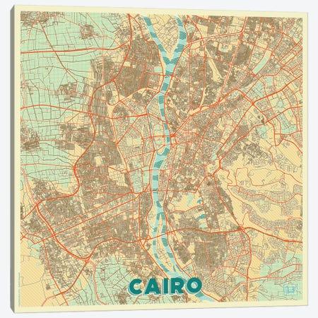 Cairo Retro Urban Blueprint Map Canvas Print #HUR73} by Hubert Roguski Canvas Wall Art