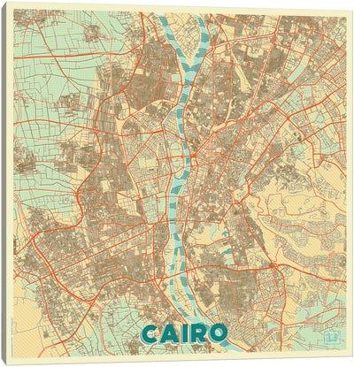 Cairo Retro Urban Blueprint Map Canvas Art Print