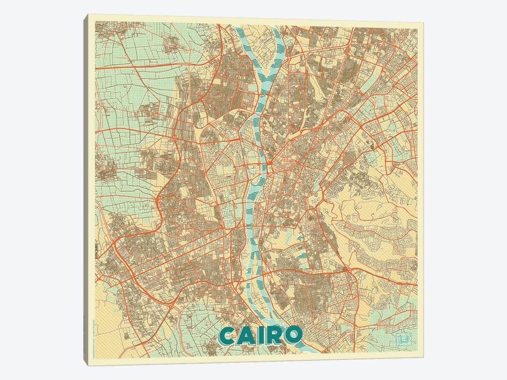 Cairo Retro Urban Blueprint Map by Hubert Roguski 1-piece Canvas Artwork