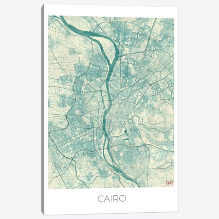 Cairo Vintage Blue Watercolor Urban Blueprint Map Canvas Print #HUR74} by Hubert Roguski Canvas Print