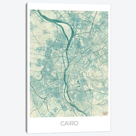 Cairo Vintage Blue Watercolor Urban Blueprint Map Canvas Print #HUR74} by Hubert Roguski Canvas Print