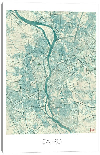 Cairo Vintage Blue Watercolor Urban Blueprint Map Canvas Art Print