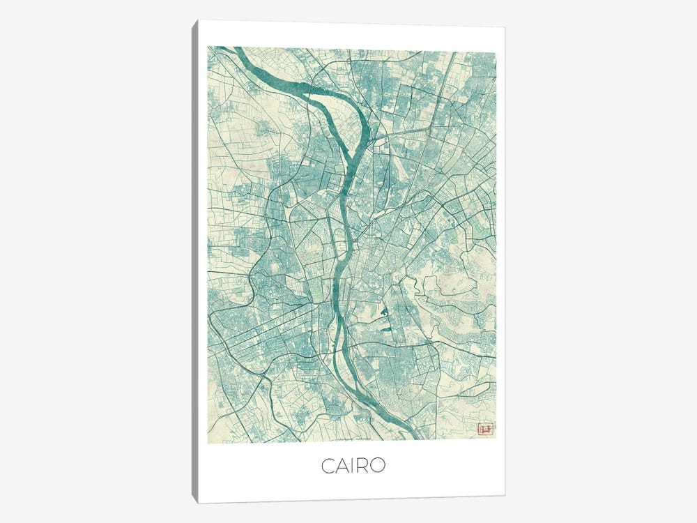 Cairo Vintage Blue Watercolor Urban Blueprint Map 1-piece Art Print