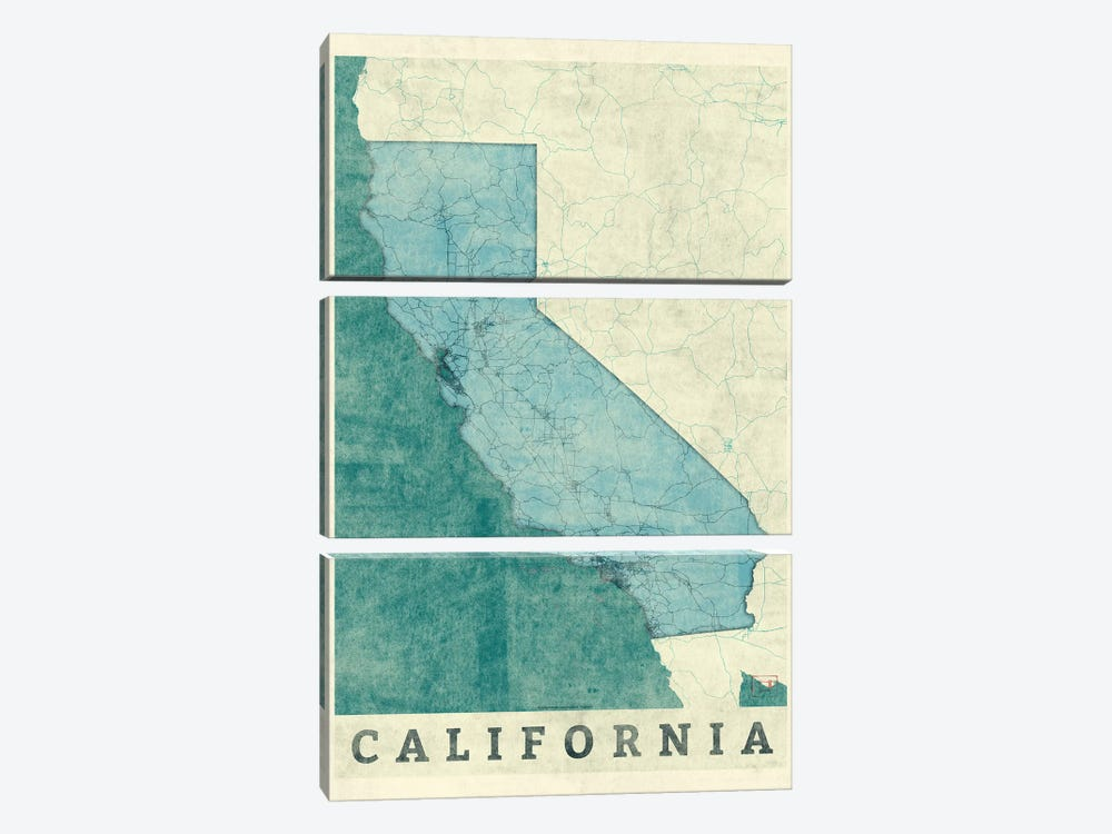 California Map 3-piece Canvas Art