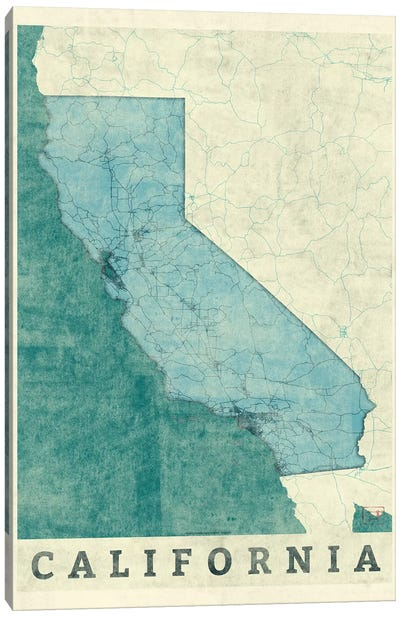 California Map Canvas Art Print
