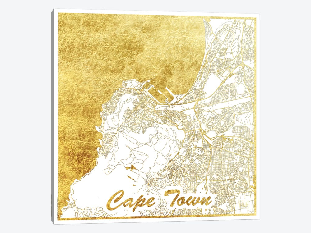 Cape Town Gold Leaf Urban Blueprint Map by Hubert Roguski 1-piece Canvas Art Print