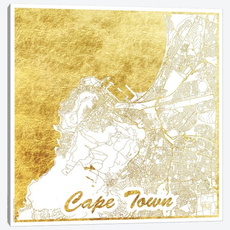 Cape Town Gold Leaf Urban Blueprint Map 3-Piece Canvas #HUR76} by Hubert Roguski Canvas Print