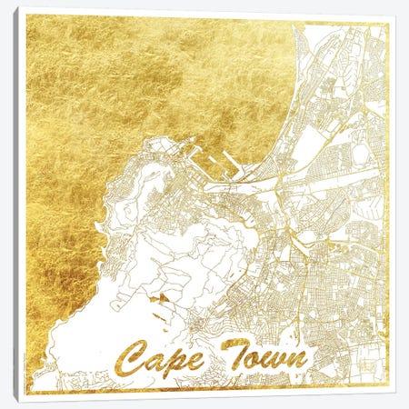 Cape Town Gold Leaf Urban Blueprint Map Canvas Print #HUR76} by Hubert Roguski Canvas Print