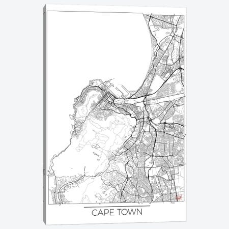 Cape Town Minimal Urban Blueprint Map 3-Piece Canvas #HUR77} by Hubert Roguski Canvas Art Print