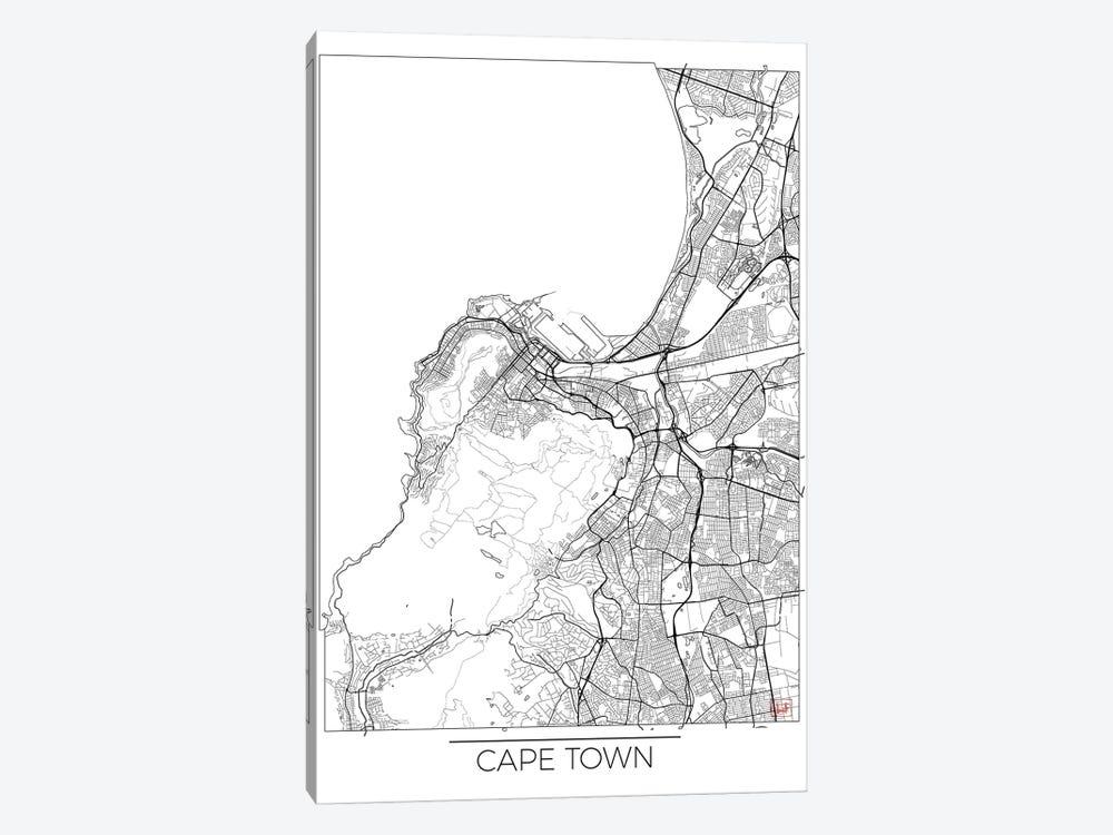 Cape Town Minimal Urban Blueprint Map by Hubert Roguski 1-piece Canvas Artwork