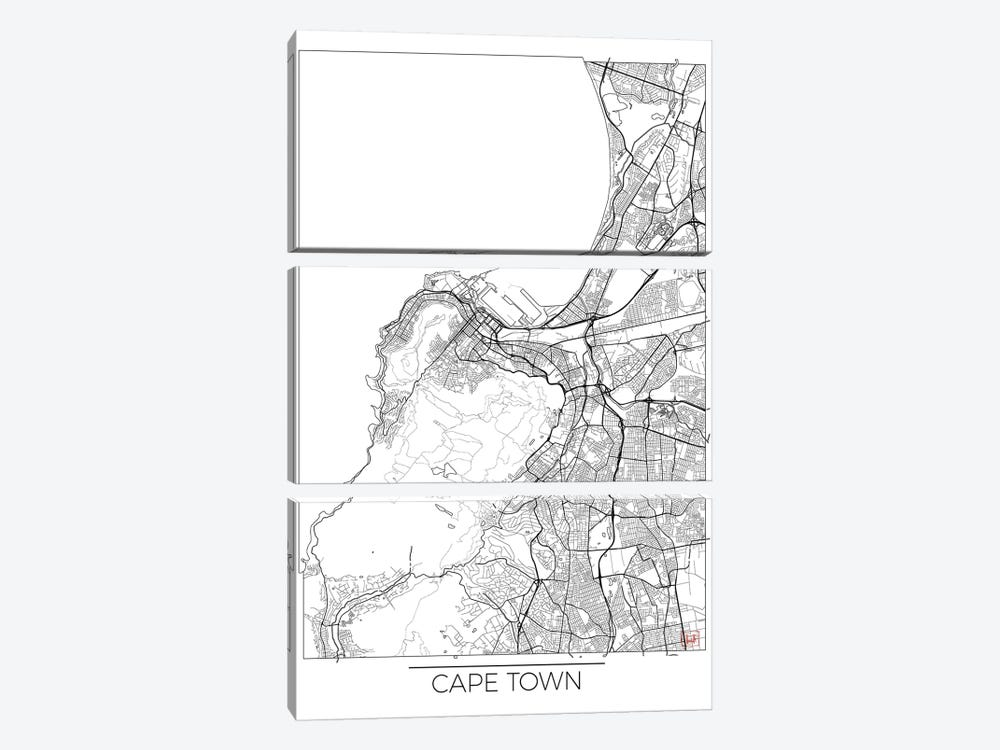 Cape Town Minimal Urban Blueprint Map by Hubert Roguski 3-piece Canvas Wall Art
