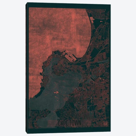 Cape Town Infrared Urban Blueprint Map Canvas Print #HUR78} by Hubert Roguski Canvas Artwork