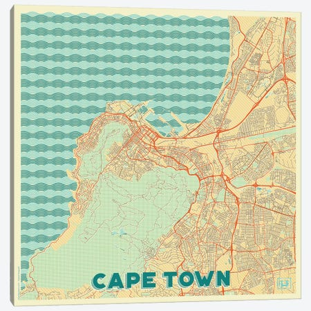 Cape Town Retro Urban Blueprint Map 3-Piece Canvas #HUR79} by Hubert Roguski Canvas Art