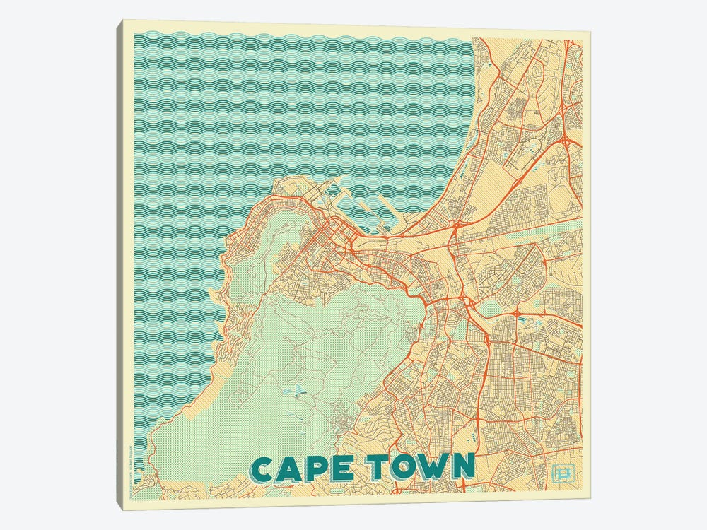 Cape Town Retro Urban Blueprint Map by Hubert Roguski 1-piece Canvas Art