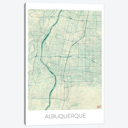 Albuquerque Vintage Blue Watercolor Urban Blueprint Map Canvas Print #HUR7} by Hubert Roguski Art Print
