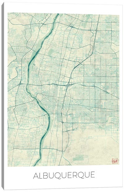 Albuquerque Vintage Blue Watercolor Urban Blueprint Map Canvas Art Print