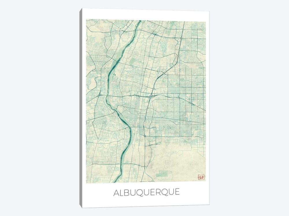 Albuquerque Vintage Blue Watercolor Urban Blueprint Map by Hubert Roguski 1-piece Canvas Art