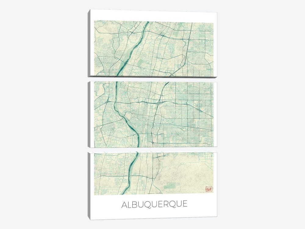 Albuquerque Vintage Blue Watercolor Urban Blueprint Map by Hubert Roguski 3-piece Canvas Wall Art