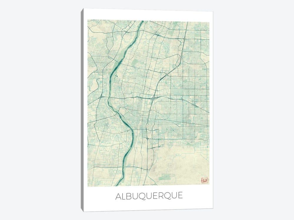 Albuquerque Vintage Blue Watercolor Urban Blueprint Map by Hubert Roguski 1-piece Canvas Art