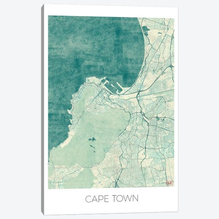 Cape Town Vintage Blue Watercolor Urban Blueprint Map 3-Piece Canvas #HUR80} by Hubert Roguski Canvas Print