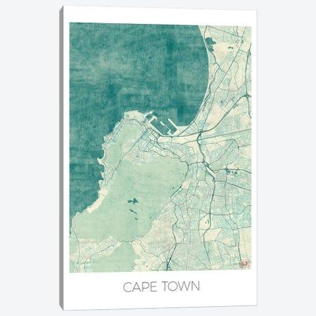 Cape Town Vintage Blue Watercolor Urban Blueprint Map Canvas Print #HUR80} by Hubert Roguski Canvas Print