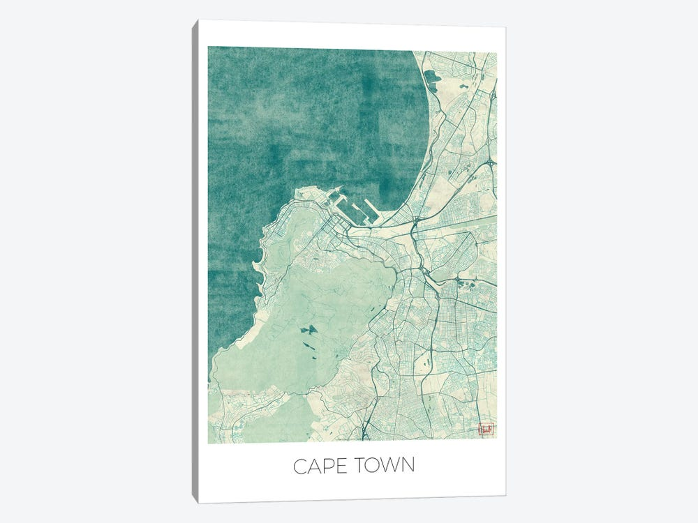 Cape Town Vintage Blue Watercolor Urban Blueprint Map by Hubert Roguski 1-piece Canvas Art