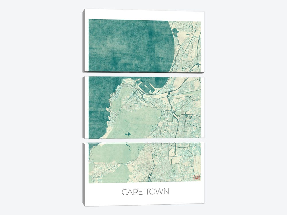 Cape Town Vintage Blue Watercolor Urban Blueprint Map by Hubert Roguski 3-piece Canvas Wall Art