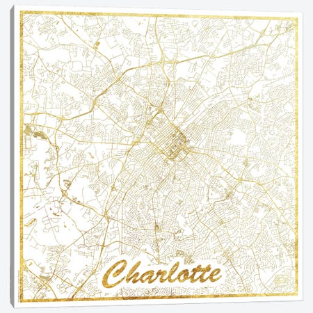 Charlotte Gold Leaf Urban Blueprint Map Canvas Print #HUR81} by Hubert Roguski Art Print
