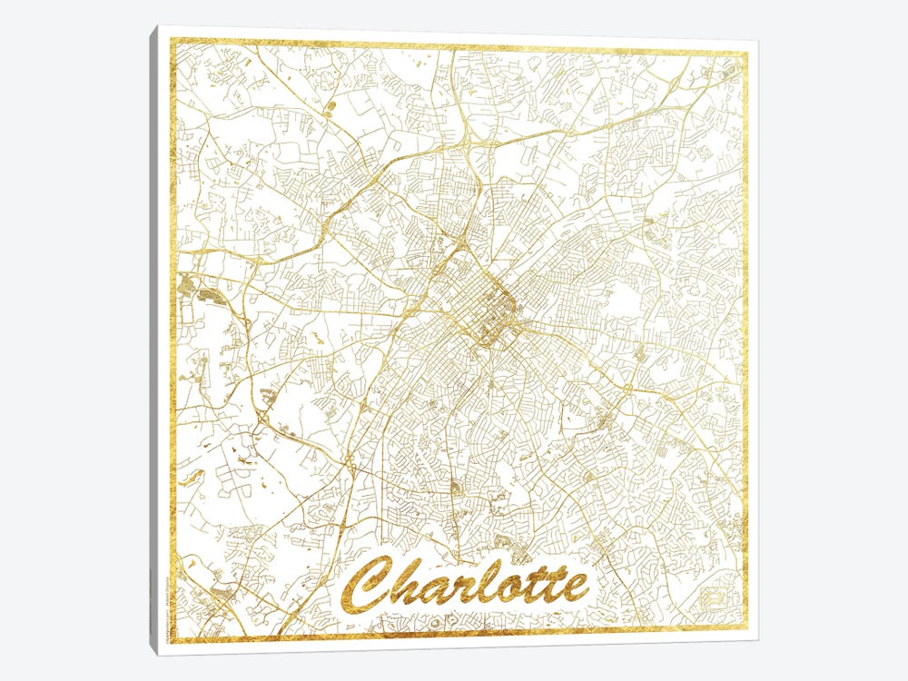 Charlotte Gold Leaf Urban Blueprint Map by Hubert Roguski 1-piece Art Print