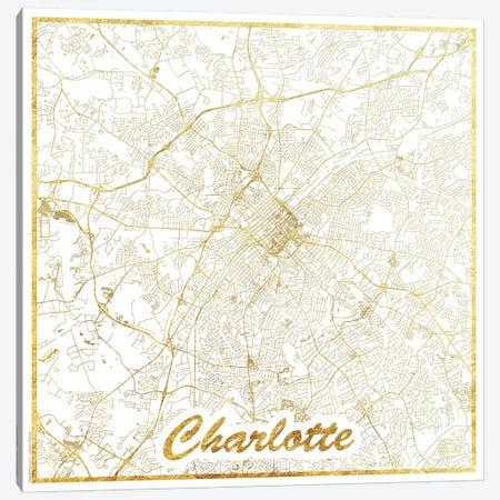 Charlotte Gold Leaf Urban Blueprint Map Canvas Print #HUR81} by Hubert Roguski Art Print