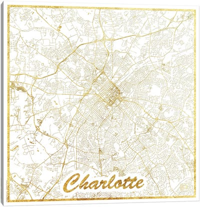 Charlotte Gold Leaf Urban Blueprint Map Canvas Art Print