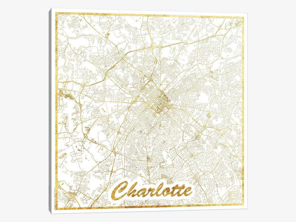 Charlotte Gold Leaf Urban Blueprint Map by Hubert Roguski 1-piece Art Print