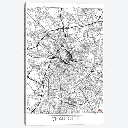 Charlotte Minimal Urban Blueprint Map 3-Piece Canvas #HUR82} by Hubert Roguski Art Print