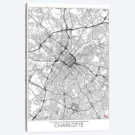 Charlotte Minimal Urban Blueprint Map Canvas Print #HUR82} by Hubert Roguski Art Print