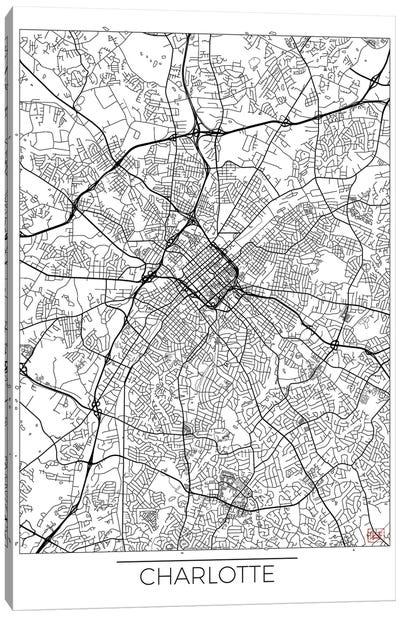 Charlotte Minimal Urban Blueprint Map Canvas Art Print
