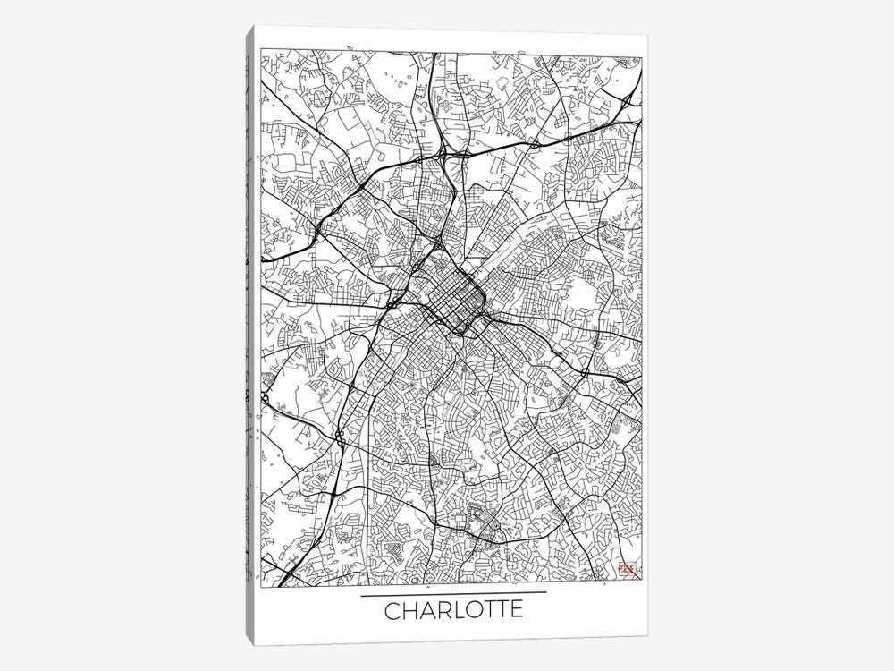 Charlotte Minimal Urban Blueprint Map by Hubert Roguski 1-piece Canvas Artwork