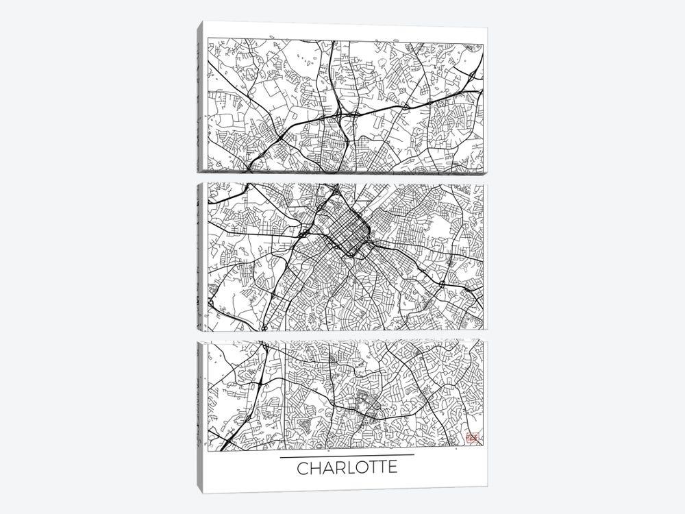 Charlotte Minimal Urban Blueprint Map by Hubert Roguski 3-piece Canvas Wall Art