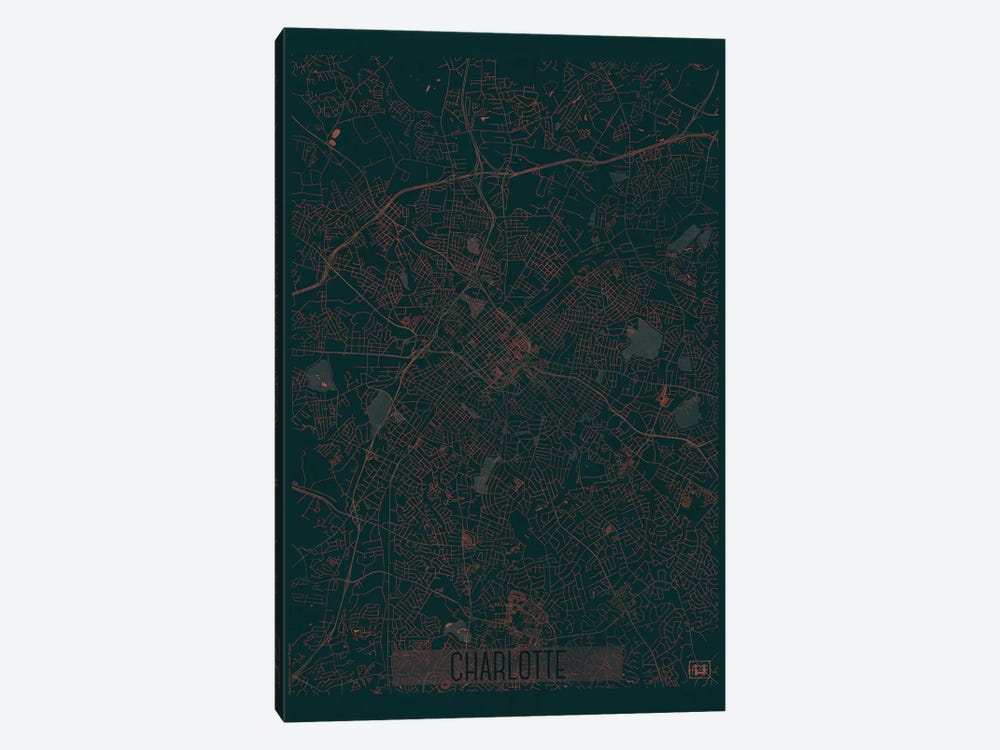 Charlotte Infrared Urban Blueprint Map by Hubert Roguski 1-piece Canvas Art Print