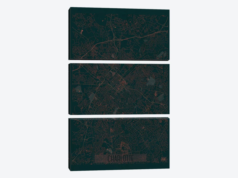 Charlotte Infrared Urban Blueprint Map by Hubert Roguski 3-piece Canvas Print