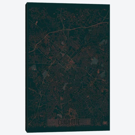 Charlotte Infrared Urban Blueprint Map Canvas Print #HUR83} by Hubert Roguski Art Print