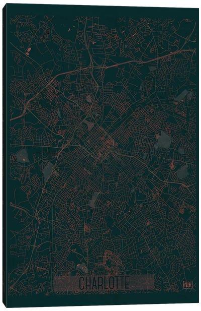 Charlotte Infrared Urban Blueprint Map Canvas Art Print