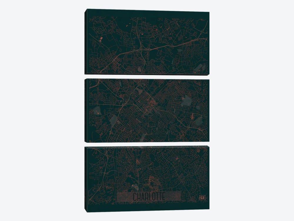 Charlotte Infrared Urban Blueprint Map by Hubert Roguski 3-piece Canvas Print